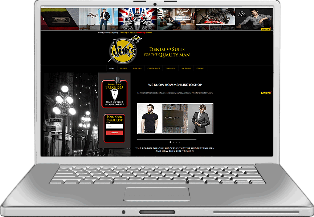 Jim's Clothes Closet Website Design