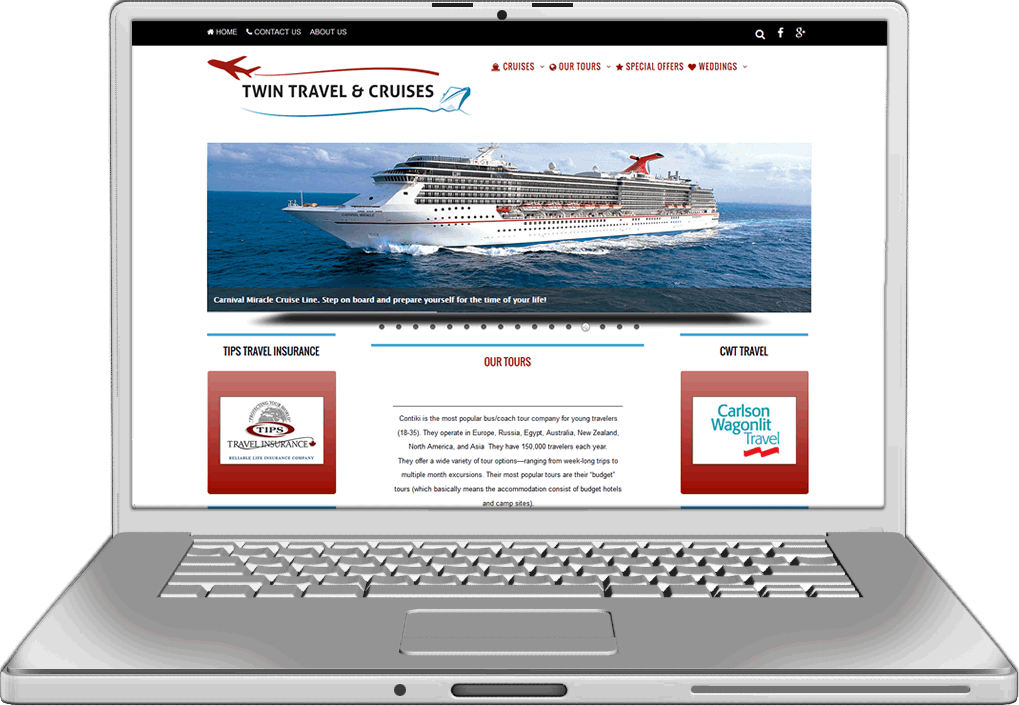 Twin Travel Website Design